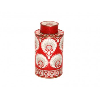 Medium cloisonne pot - Eventail Rouge