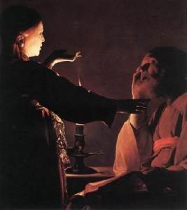 Songe de Joseph Georges de La Tour bougie et clair-obscur